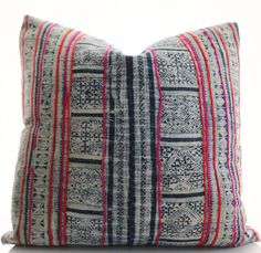 Hmong Pillow Cover Vintage Textile Ethnic Handwoven by BohoPillow