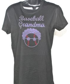 ON SALE - Baseball Grandma Major League Rhinestone Bling T-shirt (Size Fitted XL) by TheTeeShirtMakers, $14.99