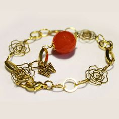 #Bracciale Metallo Anallergico Colore Oro con Ciondolo #Giada Arancio