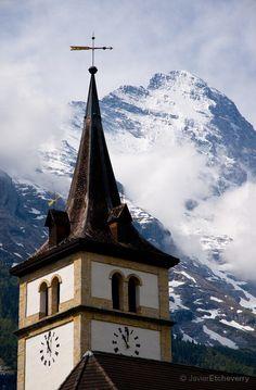 Church and Eiger, Grindelwald, Bernese Oberland, Switzerland