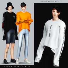 Male Long Sleeve T-Shirt for The Sims 4