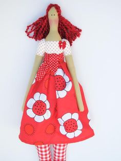 Cloth doll in bright red dress cute fabric by HappyDollsByLesya