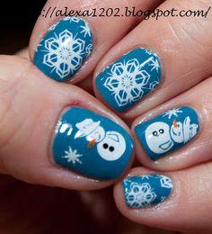 Snowman Nails - ♀ www.pinterest.com/WhoLoves/Nails ♀ #nails #nailart #christmas