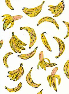 DirtyCollective - im a banana Fruit Pattern, Pattern Art, Pattern Design, Design Floral, Design Art, Interior Design, Pretty Patterns, Color Patterns, Leaves Wallpaper Iphone
