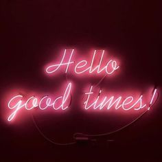 Pink Hello good times Neon Sign Light Beer Bar Handmade Home Bedroom Wall Decor Neon Light Signs, Neon Signs, Pink Neon Sign, Neon Led, Neon Licht, Neon Quotes, Magazin Covers, Neon Words, Light Quotes
