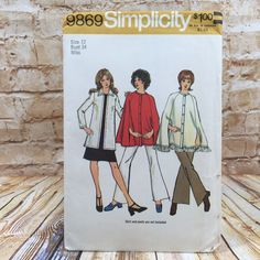 Vintage Simplicity 9869 Womens Fringe Cape Cardigan Size 12 Sewing Pattern #simplicity