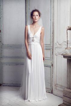 Collette Dinnigan - Silk Satin Beaded - Ivory - Size S (8-10) wedding dress for sale in Auchenflower, Queensland | Still White Australia