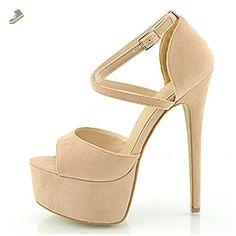Women Fashion Ankle Strap Peep Toe High Heel Platform Pump Casual Party Shoes-Apricot-7 - Onlymaker pumps for women (*Amazon Partner-Link)