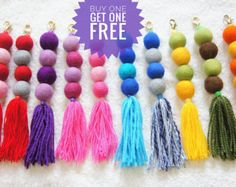 Colorful felt ball pom pom bag charm or key chain made of hand crafted felt ball pom poms and tassels. You can decorate your bag, purse or key with tassel pom poms. This tassel bag charms are lovely beach bag accessory. This listing is for 1 bag charm. Please select color choice with number from the right hand side of the listing.  Felt balls size: 2.3-2.5 cm Total length: 22 cm  ***BUY one GET one FREE****  **** Your purchase come in a nicely felt bag package, so they are ready to be given…