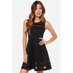 WithChic Black Sheer Insert Sleeveless Skater Dress ($26) ❤ liked on Polyvore featuring dresses, sleeveless skater dress, sheer dress, see through dress, no sleeve dress and black day dress