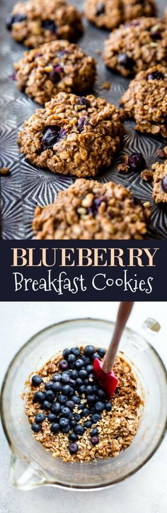 Blueberry oat breakfast cookies packed with 9 happy and wholesome ingredients to power you through the day. 1 BOWL cookie recipe on http://sallysbakingaddiction.com