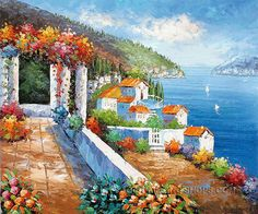 """Stretched Reproduction Art Mediterranean With Ocean Oil Painting Italy, Size: 24"""" x 20"""", $83. Url: http://www.oilpaintingshops.com/stretched-reproduction-art-mediterranean-with-ocean-oil-painting-italy-1907.html"""