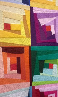 """Cubic Kaleidoscope"" quilt by Lee Sproull.  2015 Vermont Quilt Festival.  Improv log cabin.  Photo by This Quilting Mama."