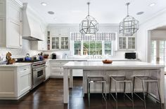 white contemporary kitchen w/geometric motif