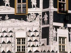 sgraffito facade in Central Europe