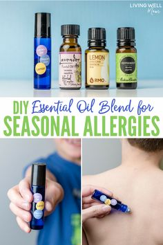 4 DIY Essential Oil Blends for Seasonal Allergies 4 essential oil roller blend recipes for seasonal discomfort. Great for helping with symptoms of sneezing, stuffy nose, watery red eyes, etc. All-natural help Essential Oils Allergies, Essential Oil Brands, Essential Oils For Add, Essential Oil Perfume, Therapeutic Grade Essential Oils, Doterra Essential Oils, Young Living Essential Oils, Stuffy Nose Essential Oils, Doterra Allergies