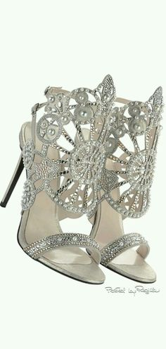 4e48c4f3a Hermosos crystal pumps or heels Silver Heels Wedding