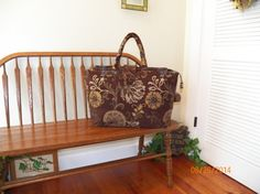 Chocolate Nicola Chenille Tapestry Carpet Bag by SignsofWelcome, $60.00