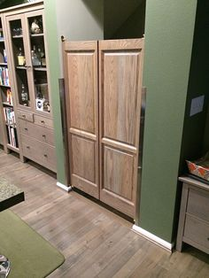 "Solid Oak 60"" Tall Swinging Saloon Doors for Kitchen Entry                                                                                                                                                                                 More"