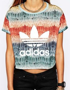 adidas multicolor crop top
