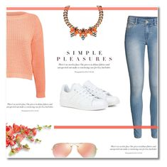 """""""Spring Beauty: Corals"""" by antemore-765 ❤ liked on Polyvore featuring Pilot, H&M, adidas, Mawi, Ray-Ban, women's clothing, women, female, woman and misses"""