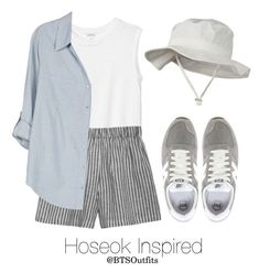 A fashion look from June 2016 featuring joie blouse, shirt top and stripe shorts. Browse and shop related looks. Kpop Fashion Outfits, Korean Outfits, Teen Fashion, Trendy Outfits, Korean Fashion, Summer Outfits, Girl Outfits, Cute Outfits, Womens Fashion