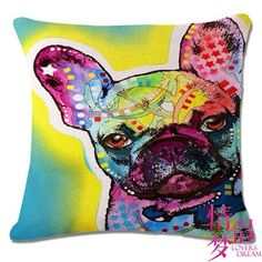 Watercolor Oil Painting Dog Cushion(No Filler) Polyester Family Affection Sofa Car Seat Family Home Decorative Throw Pillow French Bulldog Meme, White French Bulldog Puppies, French Meme, Throw Pillow Cases, Decorative Throw Pillows, Bulldog Quotes, Dog Cushions, Dogs, Dog Food