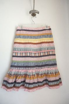 Anthropologie Odille Rendezvous Patchwork Floral Pencil Ruffle Skirt Size 0 #Odille #StraightPencil