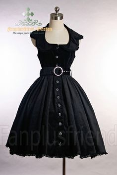 Here's a nice gothic lolita dress, with a slightly retro feel. The halter neckline is a plus.