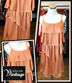 Vintage Peach Jersey Dress Drapped FREE SHIPPING