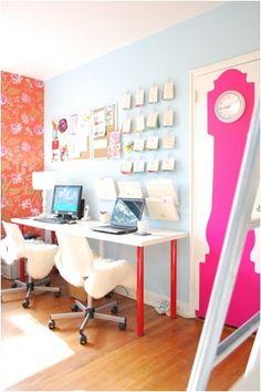 Decoração // Home Office // Organização // Colorido // Criativo // Para duas pessoas