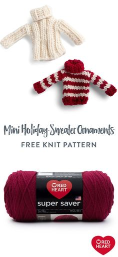 Free Knit Mini Holiday Sweater Ornaments pattern using Red Heart Super Saver yarn. What's cuter than a teeny tiny sweater? Great for gifts, these tiny sweaters make an adorable ornaments or gift card cozies. #Yarnspirations #FreeKnitPattern #KnitOrnament #RedHeartYarn #RedHeartSuperSaver Knitting Patterns Free, Knit Patterns, Free Knitting, Free Crochet, Free Pattern, Super Saver, Holiday Sweater, Cozies, Red Heart Yarn