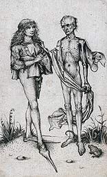 Jonge man en de Dood, ca 1485-90, Meester van het Amsterdamse Kabinet, Inkt op…