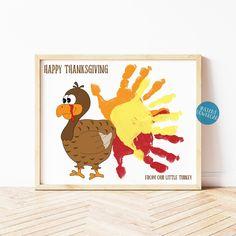 Happy Thanksgiving Turkey Handprint Art, DIY Kid Craft, Handprint Keepsake, Fall Handprint Art, Thanksgiving Printable, Classroom Activity