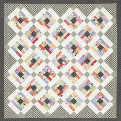Collectors of 1930s reproduction prints will enjoy this wall hanging or small throw featuring the Everything But the Kitchen Sink collection by RJR Fabrics. Use solid white sashing strips, then add black-and-white prints in the sashing squares, setting triangles, and border. This provides an unexpected checkerboard look, which is a nice contrast to the soft pastels.