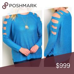 """(Plus) Blue sweater Blue cold shoulder sweater. 100% acrylic. Extremely soft with great stretch! Great oversized look for fall and winter.  XL: L 28"""" • B 50"""" XXL: L 29"""" • B 52"""" XXXL: L 30"""" • B 54"""" Availability: XL•XXL•XXXL • 2•0•3 ⭐️This item is brand new from manufacturer with tags.  🚫NO TRADES 💲Price is firm unless bundled 💰Ask about bundle discounts Sweaters Crew & Scoop Necks"""