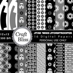 Star Wars Stormtrooper Digital Paper Pack Personal Use Instant Download Gift Wrap Digital Scrapbook Papers Party Invitation Craft Supplies