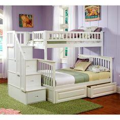 Atlantic Furniture Columbia Twin over Full Stairway Bunk Bed - Bunk Beds & Loft Beds at Hayneedle - $1,282 - $2,105