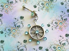 SALE-Belly Ring, Antique Silver Nautical Ship Stern Wheel with Blue Crystals, Belly Button Jewelry, For Her