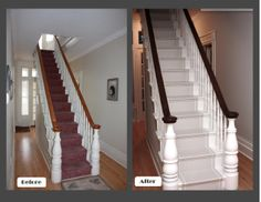 Cost Of Carpet Runners For Stairs Painted Staircases, Painted Stairs, Wood Stairs, Basement Stairs, Basement Ideas, Black Stair Railing, Carpet Decor, Carpet Ideas, Wall Carpet