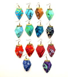 Asymmetric your pick fiber earrings, origami fabric dangles, Boucles d'oreilles…
