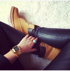 Timberland shoes with leather tights!!!