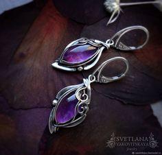 """Купить Серебряные серьги """"Astrid"""" с аметистом - фиолетовый, сиреневый, сливовый, серьги с аметистами"""