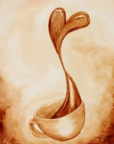 The Coffee Art® gallery showcases fine works of art created with pure coffee by Angel & Andy.The Coffee Art® gallery showcases fine works of art created with pure coffee by Angel & Andy. Coffee Cup Art, Coffee Coffee, Coffee Humor, Morning Coffee, Easy Coffee, Coffee Creamer, Funny Coffee, Coffee Break, Drawing Cup