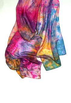 Silk Scarf Silk Shawl Wrap Scarf Hand Dyed Scarf /f107/