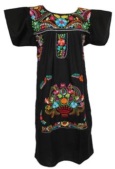 This is a traditional Mexican dress with beautiful hand-embroidered colorful patterns. This dress is also typically known as a Puebla dress or Peasant dress. Mexican Embroidered Dress, Mexican Blouse, Mexican Embroidery, Mexican Outfit, Mexican Style, Traditional Mexican Dress, Traditional Dresses, Fabulous Dresses, Nice Dresses