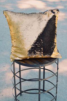 Black & Matte Gold Sequin Mermaid Pillow - Mermaid Pillow Co