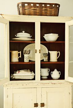 Old Cupboard with Ironstone