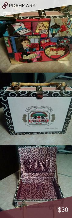 Cigar box purse This cigar box purse is lined with cheetah print material comedy front with beading Romeo Roma Bags Mini Bags