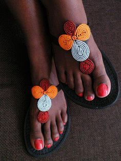 Top rated African jewelry boutique: Shop online for African earrings, African necklaces, African bracelets and more! Shop Handmade African Jewelry form our store at an affordable price. Beaded Shoes, Beaded Sandals, African Inspired Fashion, African Fashion, African Accessories, Florida Fashion, African Attire, Beautiful Shoes, Leather Sandals